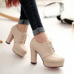佳美 - 系带厚底高跟鞋