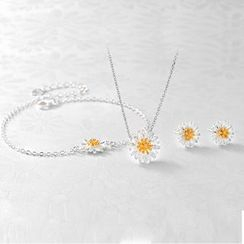 Kitty Kiss - Set: 925 Sterling Silver Flower Necklace + Bracelet + Earrings