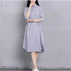 Clover Dream - Elbow-Sleeve Striped Shirt Dress