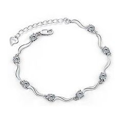 BELEC - White Gold Plated 925 Sterling Silver with Silver Cubic Zircon Bracelet -21cm