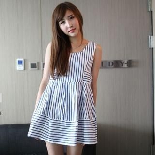 Mini Jule - Sleeveless Striped Panel Dress