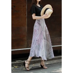 MyFiona - Patterned A-Line Long Skirt