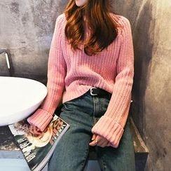 NANING9 - Cuff-Sleeve Rib-Knit Sweater