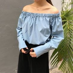 Bloombloom - Off-Shoulder Long-Sleeve Top with Sash