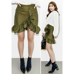 INSTYLEFIT - Asymmetric Ruffle-Hem Mini Skirt