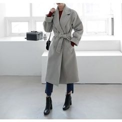 Miamasvin - Stitched Wool Blend Long Coat with Sash