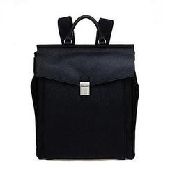 QeQ - Buckled Faux-Leather Backpack
