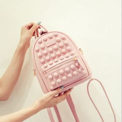 ALIN - Faux-Leather Paneled Backpack