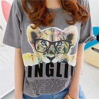 DL jini - Tiger Print T-Shirt