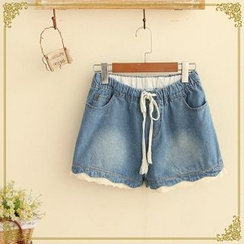 Fairyland - Crochet Trim Drawcord Denim Shorts