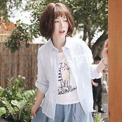 白金天使 - 條紋長袖襯衫