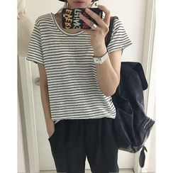 NIPONJJUYA - Round-Neck Short-Sleeve Linen T-Shirt