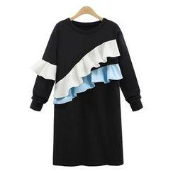 VIZZI - Color Block Ruffle Pullover Dress