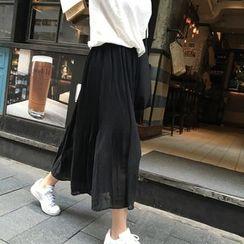 MePanda - Pleated Chiffon Midi Skirt