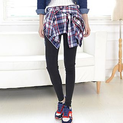 Corella - Inset Plaid Skirt Leggings