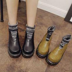 Mancienne - Platform Paneled Ankle Boots