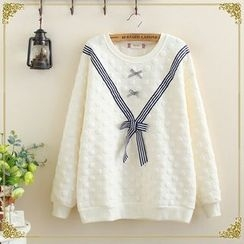 Angel Love - Bow Detail Textured Pullover