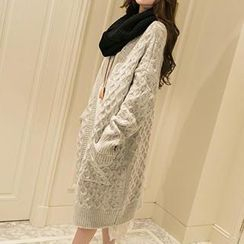 Romantica - Pocket-Accent cable-knit Long Cardigan