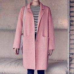 chuu - Notched-Lapel Wool Blend Knit Coat