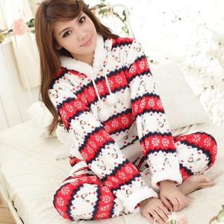 Angel Romance - Pajama Set: Hooded Fleece Top + Pants