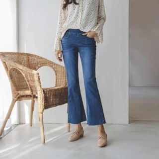 JUSTONE - Band-Waist Washed Boot-Cut Jeans