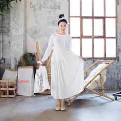 chuu - Accordion Pleated Long Skirt