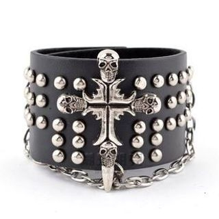 Trend Cool - Metal Cross & Studded Bracelet