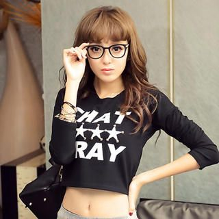 Sweet Dolly - Long-Sleeve Printed Cropped T-Shirt