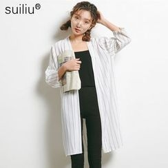 GoFlow - Elbow-Sleeve Striped Long Blouse