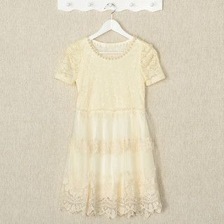 YesStyle Z - Short-Sleeved Beaded Lace A-Line Dress