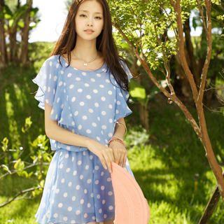 Tokyo Fashion - Ruffle-Sleeve Dotted Chiffon Dress