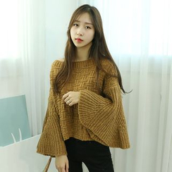 Dodostyle - Patterned Boat-Neck Bell-Sleeve Knit Top