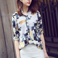 Neeya - Printed Long-Sleeve Blouse
