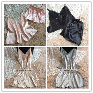 Monthea - Pajama Set: Lace Trim Camisole Top + Lace Shorts