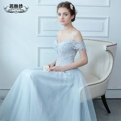 MSSBridal - Lace Panel Off Shoulder A-Line Evening Gown