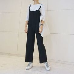 STYLEBYYAM - Sleeveless Pleated Jumper Pants