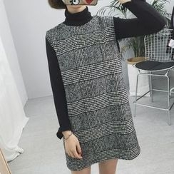 Tiny Times - Set: Long-Sleeve High Neck T-Shirt + Sleeveless Plaid A-line Dress