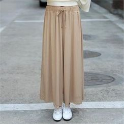 CHICFOX - Drawstring-Waist Wide-Leg Pants