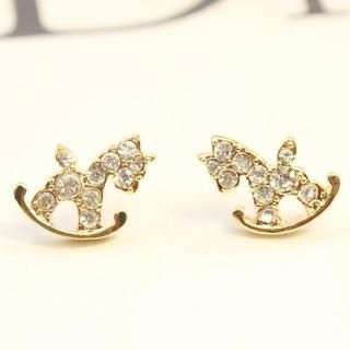 Supermary - Rhinestone Wooden Horse Stud Earrings