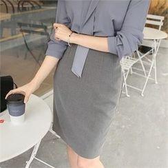 ZIZIBEZIRONG - High-Waist Pintuck Pencil Skirt