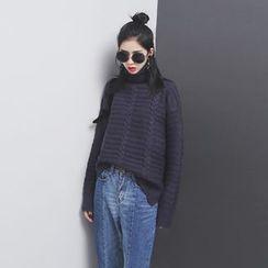 Sonne - 开叉高领长袖针织毛衣