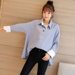 Colorful Shop - Striped Loose-Fit Shirt