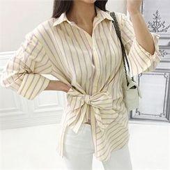 Babi n Pumkin - Tie-Waist Striped Shirt
