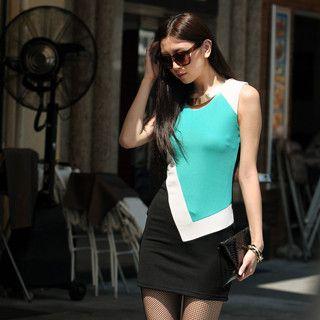 59 Seconds - Asymmetric Color Block Shift Dress