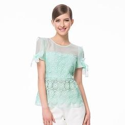 O.SA - Bow-Sleeve Lace Top