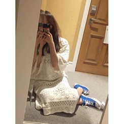 maybe-baby - 3/4-Sleeve Long Open-Knit Dress