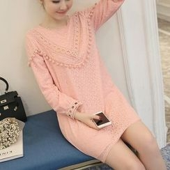 Ceres - Maternity Long-Sleeve Lace Trim Dress
