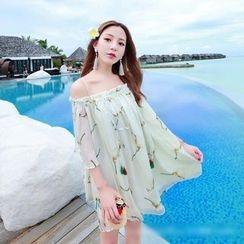 Miss Fox - Print Off-shoulder Chiffon Dress