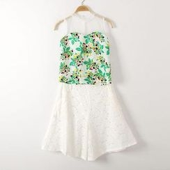 JVL - Set: Floral Tank Top + Lace Skirt