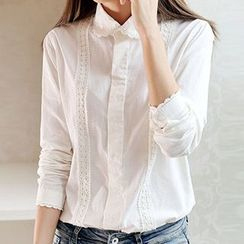Neeya - Lace Trim Long-Sleeve Blouse